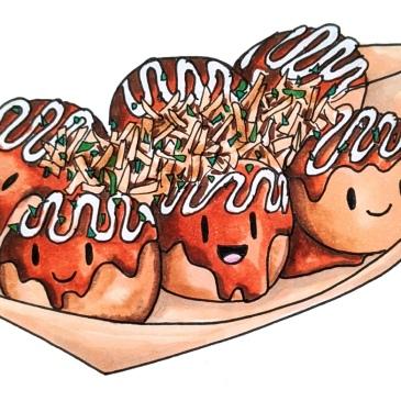 かわいいたこ焼き屋台日本ケーキコピックマーカーの描画