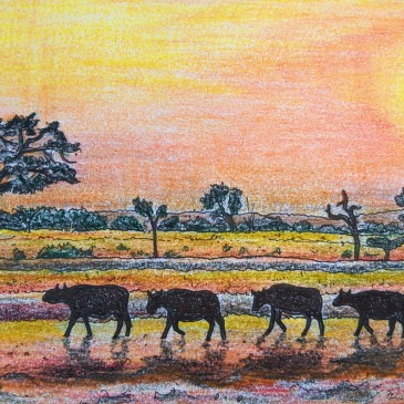 Pencil drawing of African national park with wildebeest silhouettes red sunset