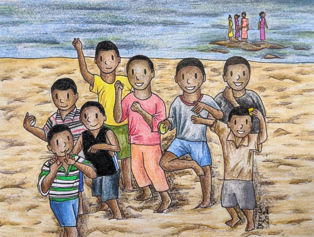 Cartoon sketch of African kids dancing on Lake Malawi Africa