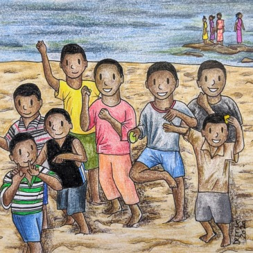 Cartoon sketch of African kids dancing on Lake Malawi Africa