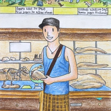 Sketch of a man holding a t-Rex bone in Savannakhet dinosaur museum Laos