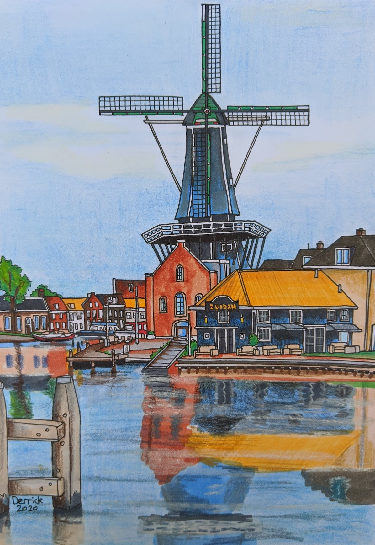 Landscape illustration haarlem windmill reflection on the water spaarne river