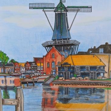 Landscape illustration haarlem windmill reflection on the water spaarne river