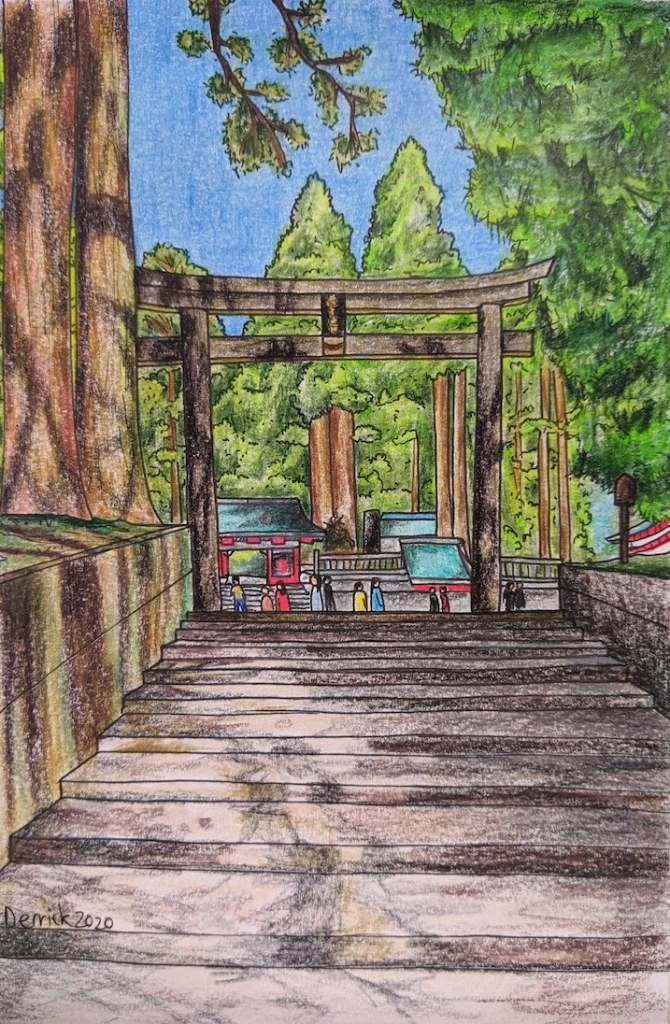 Travel sketch pencil art of a Japanese torii gate in Nikkō