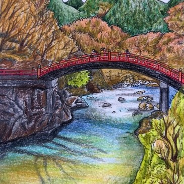 Urban sketching Japanese bridge in Nikko Shinkyo bridge