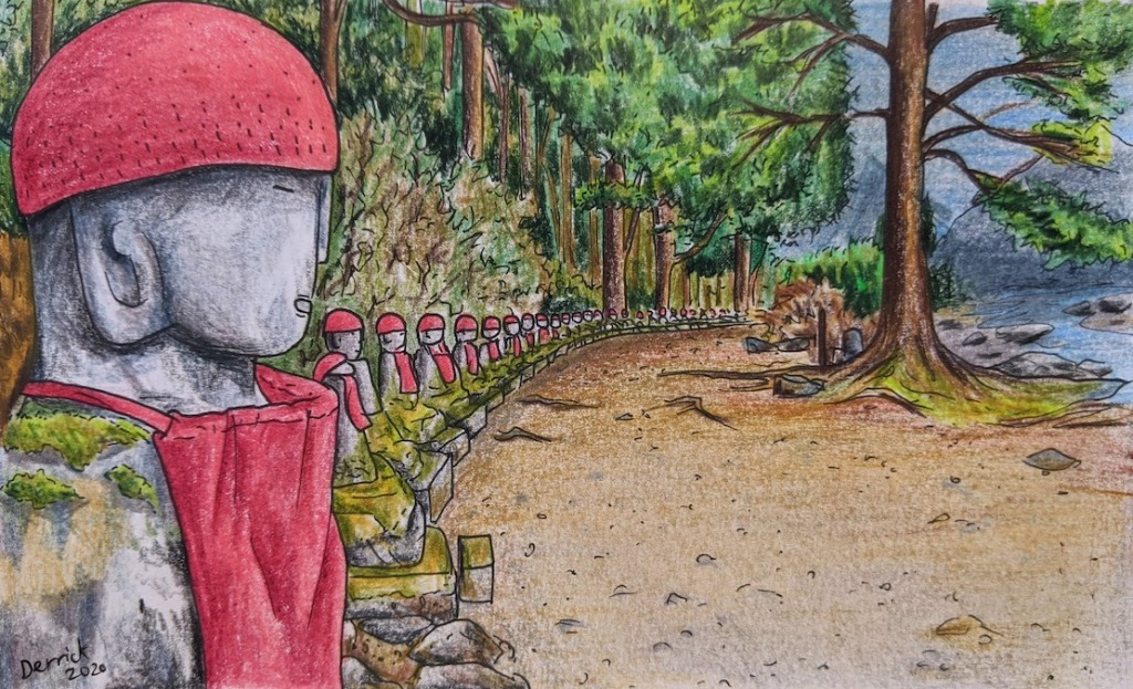 Sketch of Ghost Jizō statuettes in Kanmangafuchi abyss in Nikko, Japan