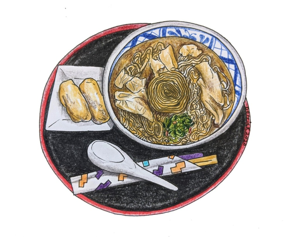Sketch of Yuba tofu skin noodle soup in Nikkō, Japanese specialty food