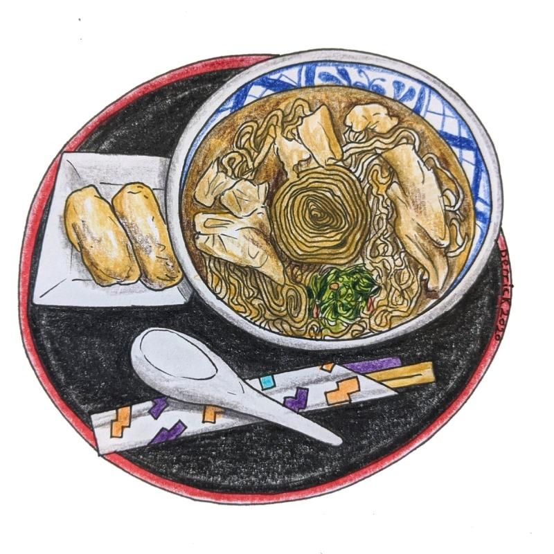 Sketch of Yuba tofu skin noodle soup in Nikkō, Japanese specialty food