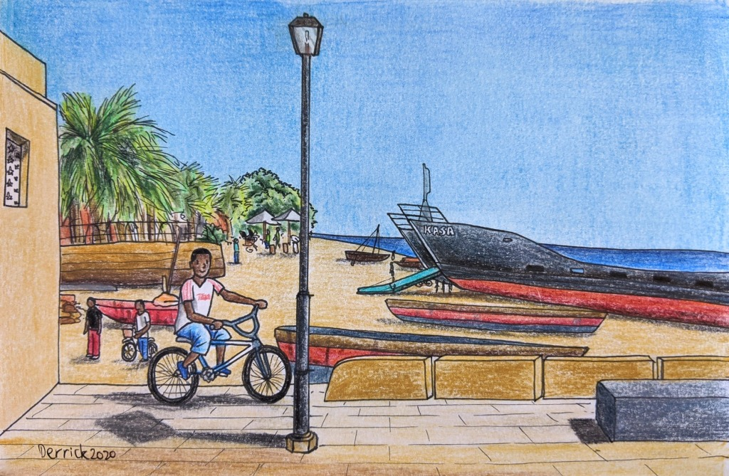 Urban sketching Zanzibar beach ships palm trees bicycle