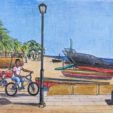 Urban sketching Zanzibar beach ships palm trees bicycle