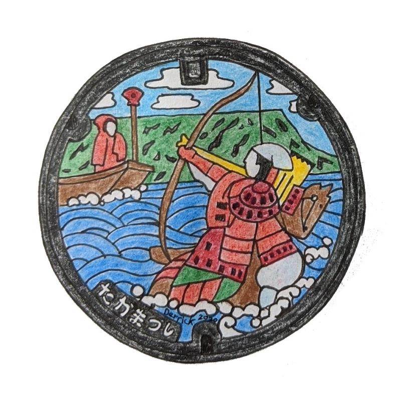 Drawing of Takamatsu manhole cover beautiful art design archer samurai