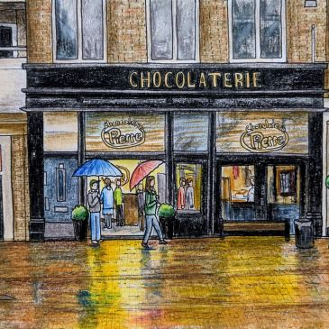 Landscape sketch of Chocolaterie pierre in haarlem best ice cream in haarlem