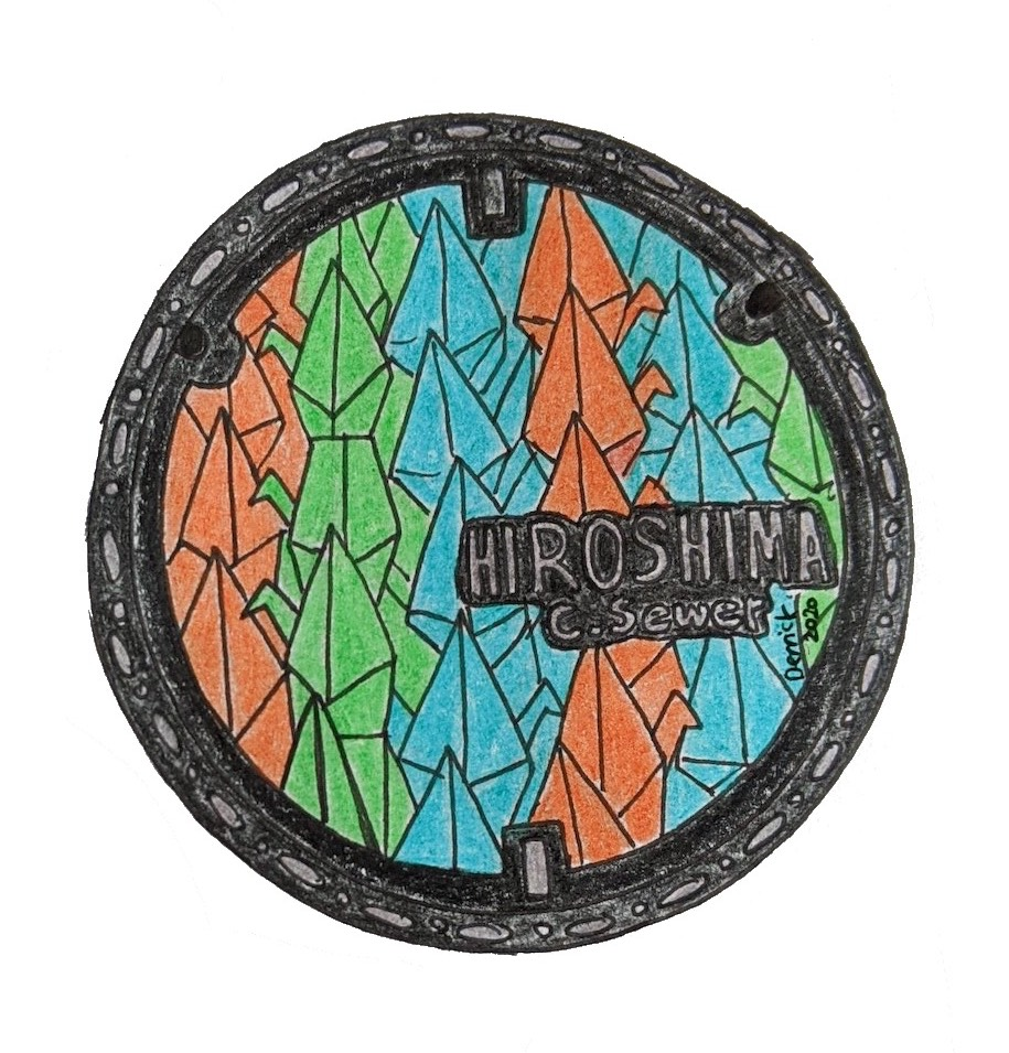 Drawing of Hiroshima sewer cover design colorful paper crane manhole cover