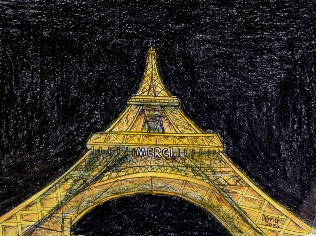 Tour Eiffel Merci illumination coronavirus Paris France Drawing