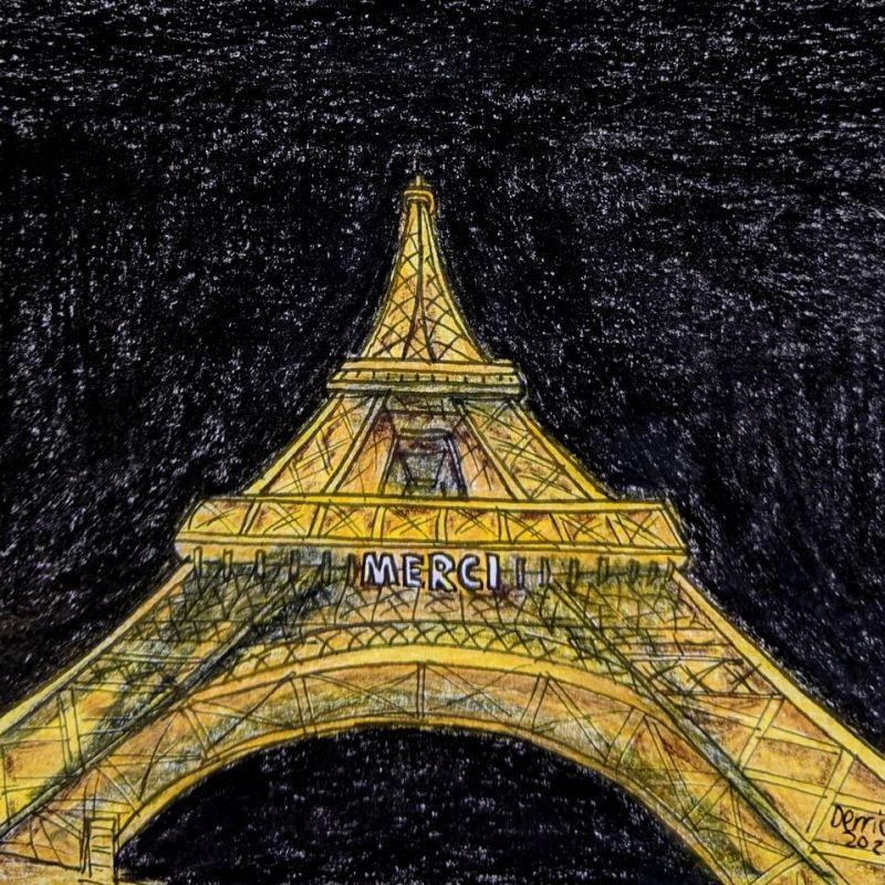 Tour Eiffel Merci illumination coronavirus Paris France Drawing