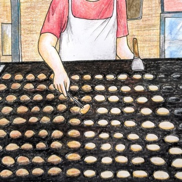 Drawing of Dutch poffertjes special pan being cooked in The Netherlands