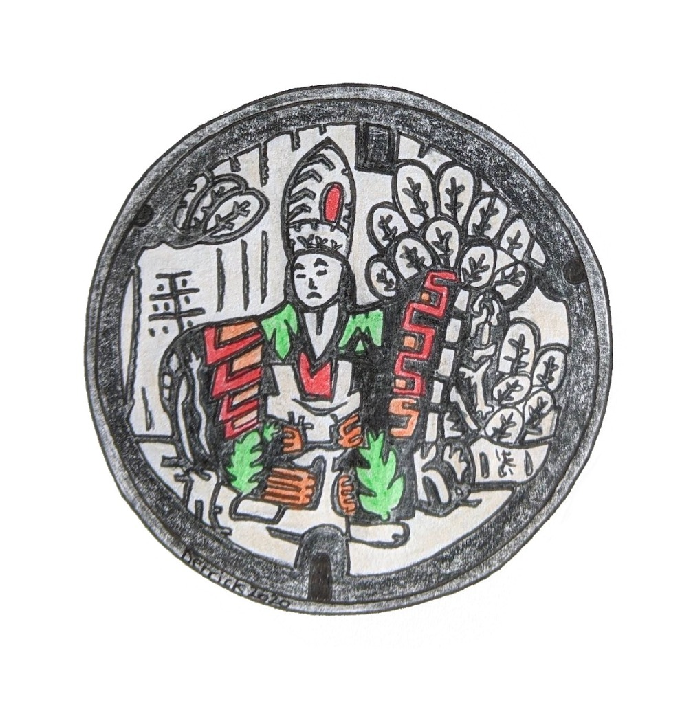 Drawing of Japanese manhole cover sketch hachioji puppet figure