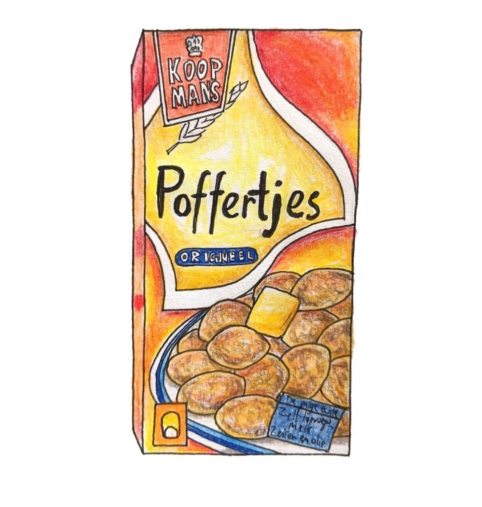 Schets van het Nederlandse voedingssupermarkt poffertjes koopmans merk