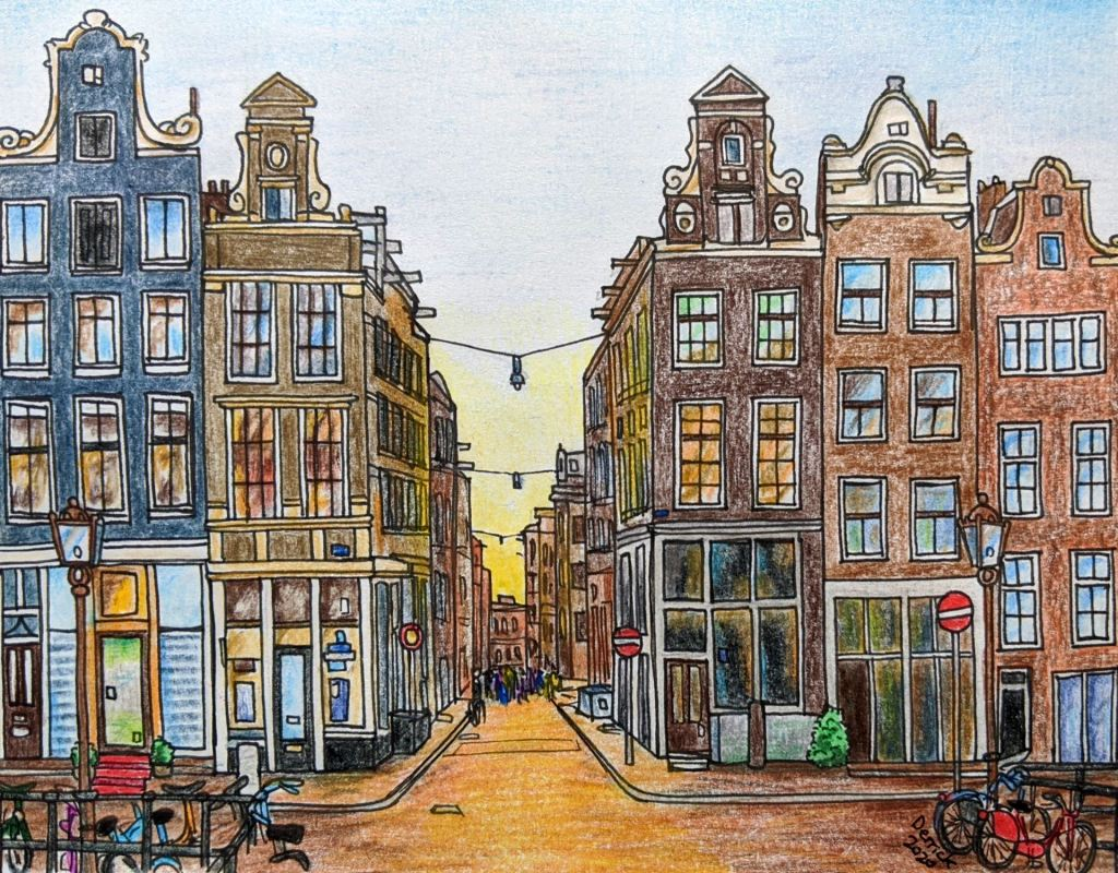 Landscape art Amsterdam nine streets amsterdam buildings at sunset