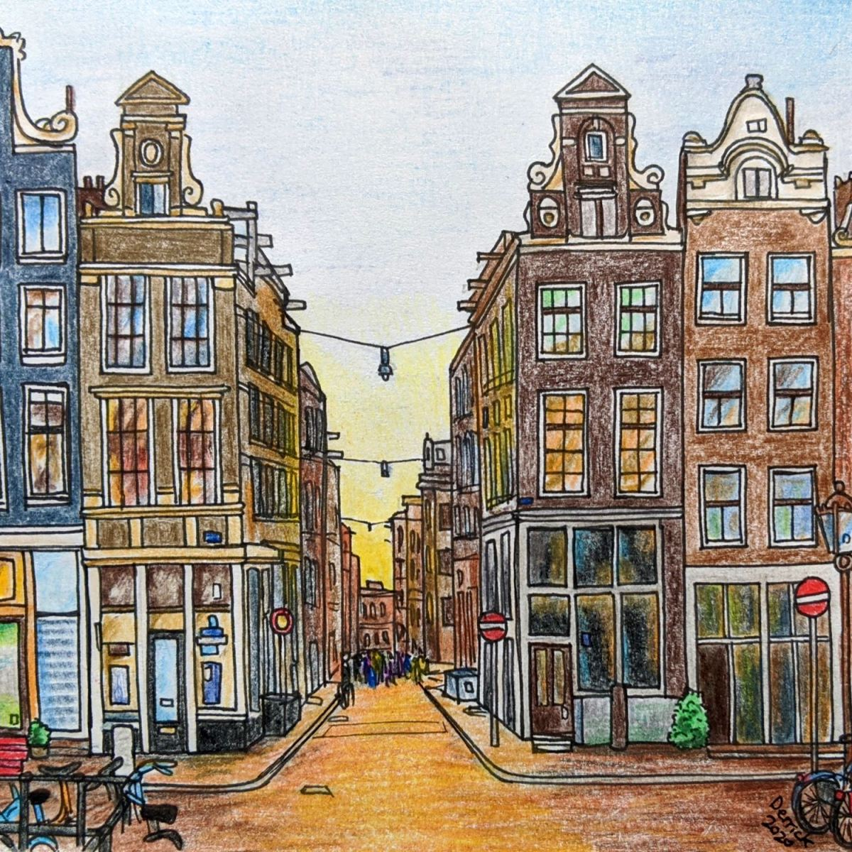 Landscape art Amsterdam nine streets amsterdam buildings at sunset