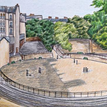 Urban sketching Paris Arenes de Lutece Roman ruins