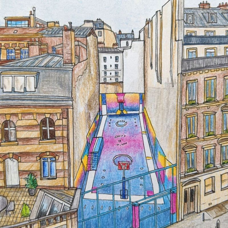 Paris colourful basketball court Pigalle between buildings