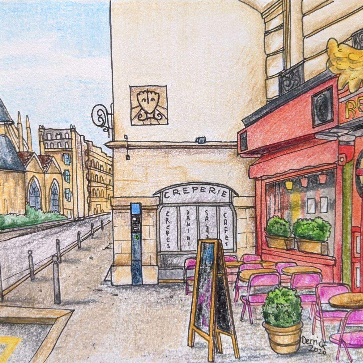 Drawing of Dali Sundial street art paris urban sketching paris