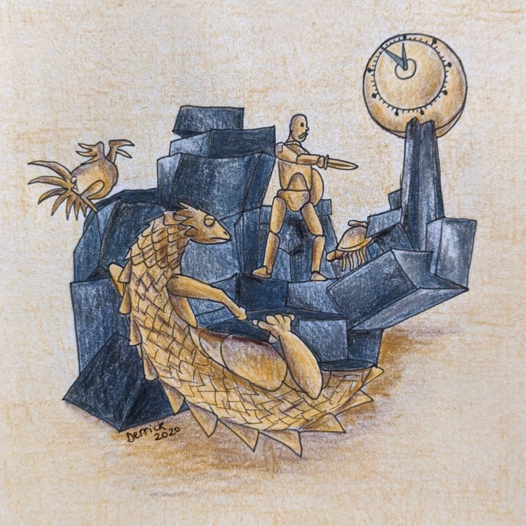 drawing of the defenseur du temps sculpture in the Quartier de l'Horloge