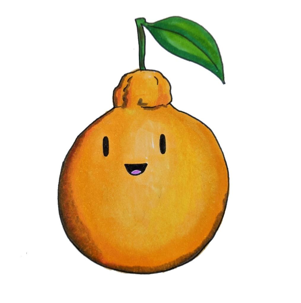 Japanese fruit dekopon cute drawing sumo orange