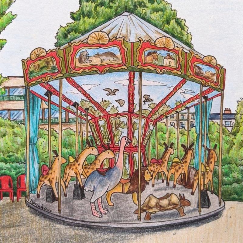 carousel of extinct and endangered animals paris dodo thylacine dinosaur merry go round