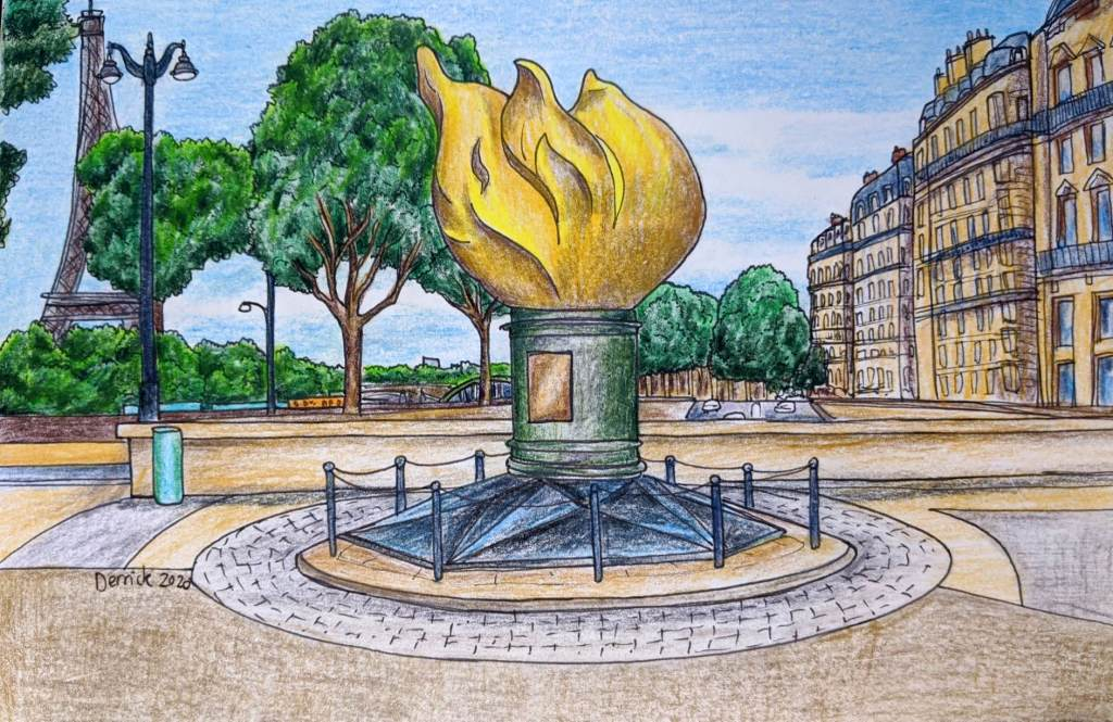 Urban sketching paris flame of liberty at place de l'alma