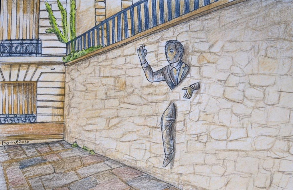 Drawing of the passer through walls paris sculpture colour pencil