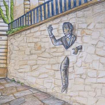 Drawing of the passer through walls paris sculpture colour pencil