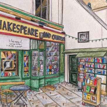 Sketch of shakespeare and co book shop in paris urban sketching pencils
