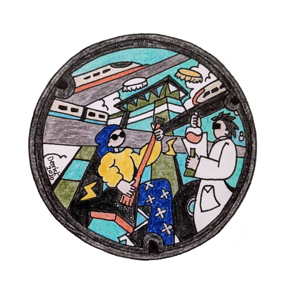 Taipei manhole cover Nangang new design music science trains