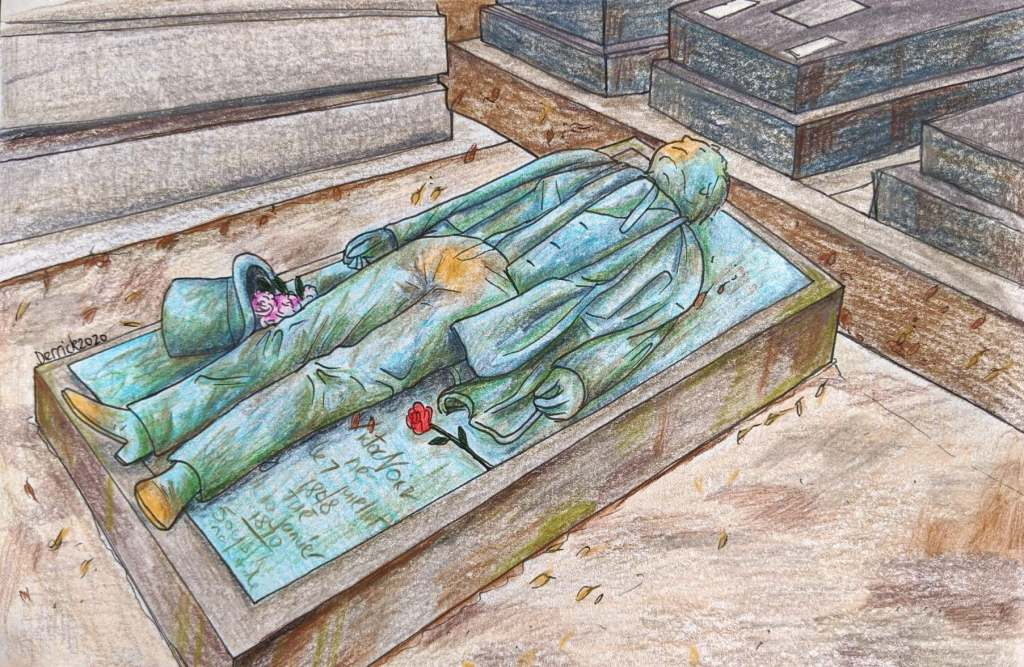 Drawing of Victor Noir grave in Pere Lachaise cemetery rub crotch