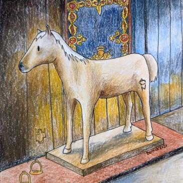 Drawing of Napoleon's last horze vizir les invalides