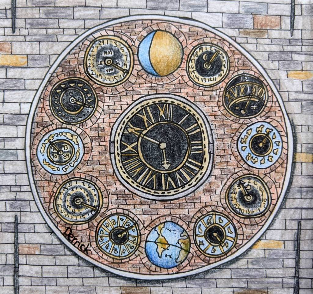 Sketch of the Zimmer clock lier tower in Belgium urban sketching
