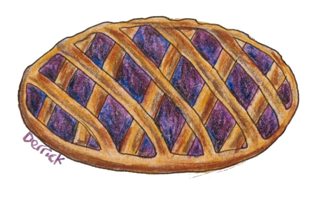 Sketch of Alpine tart French baking jam filling latticework pastry