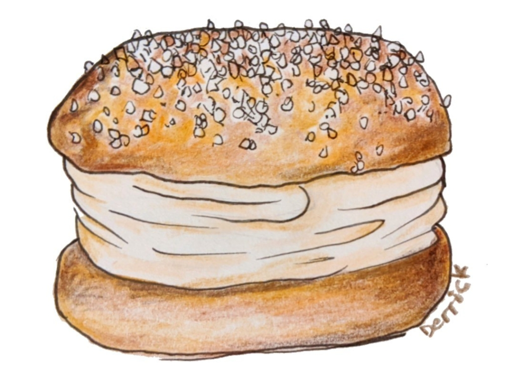 Drawing of a French dessert cream filled tart brioche