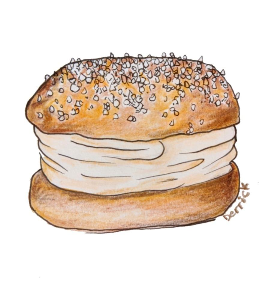 Drawing of a French dessert cream filled tart brioche