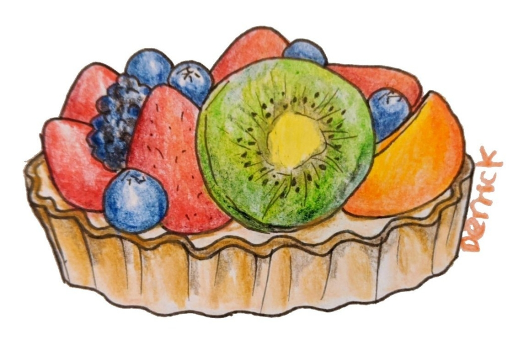 Fruit tart French bakery dessert with kiwi strawberry blueberry peach