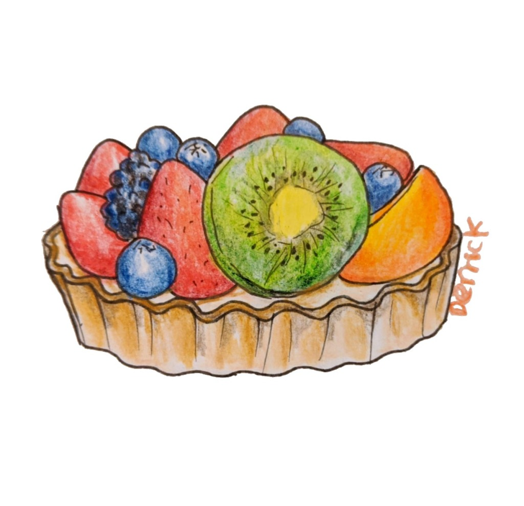 Fruit tart French bakery dessert with kiwi strawberry blueberry peach