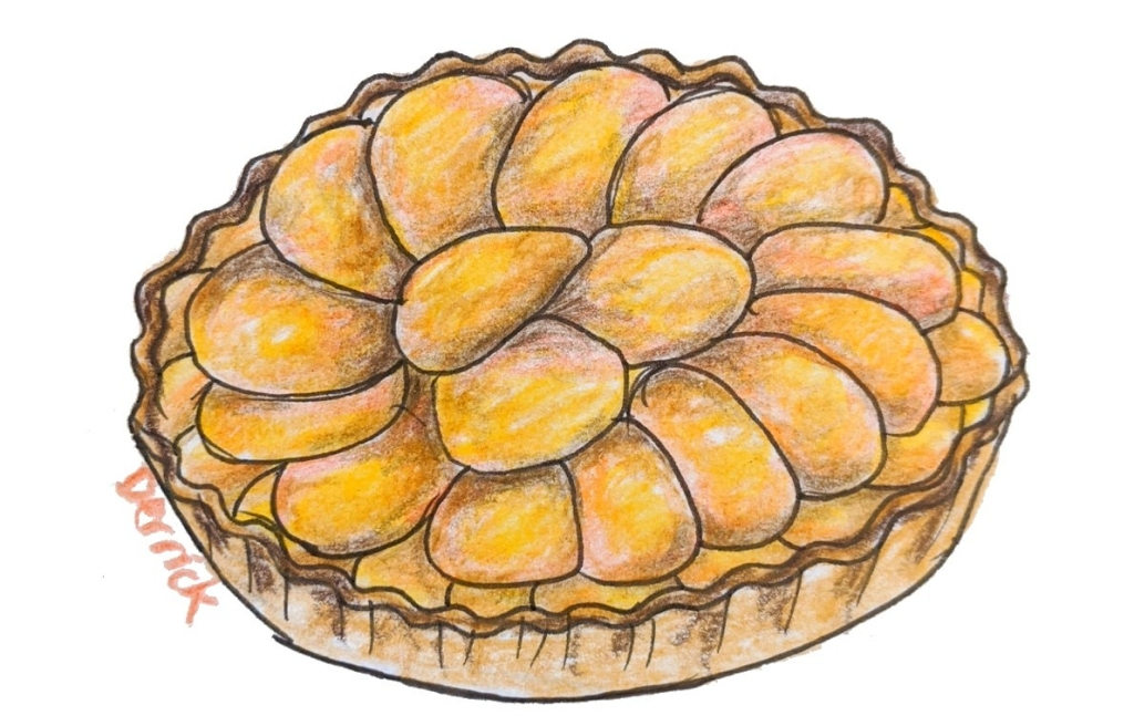 French plum tart sketch Mirabelle tart
