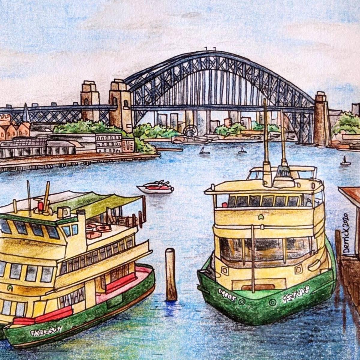 Urban sketching Sydney harbour landscape of sydney ferries and harbour bridge
