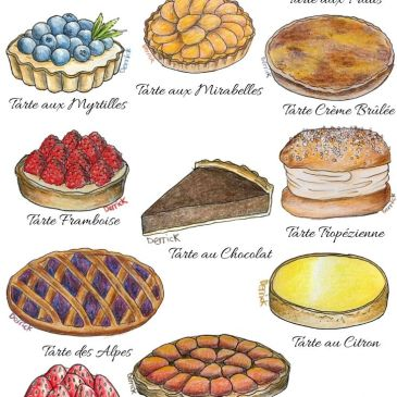 Drawing of French tarts and cakes food drawing delicious cakes from france