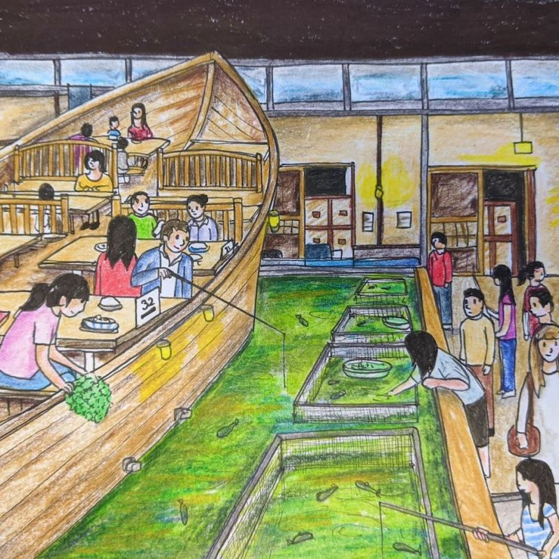 Restaurant in Japan Catch your own fish Zauo wooden boat tables