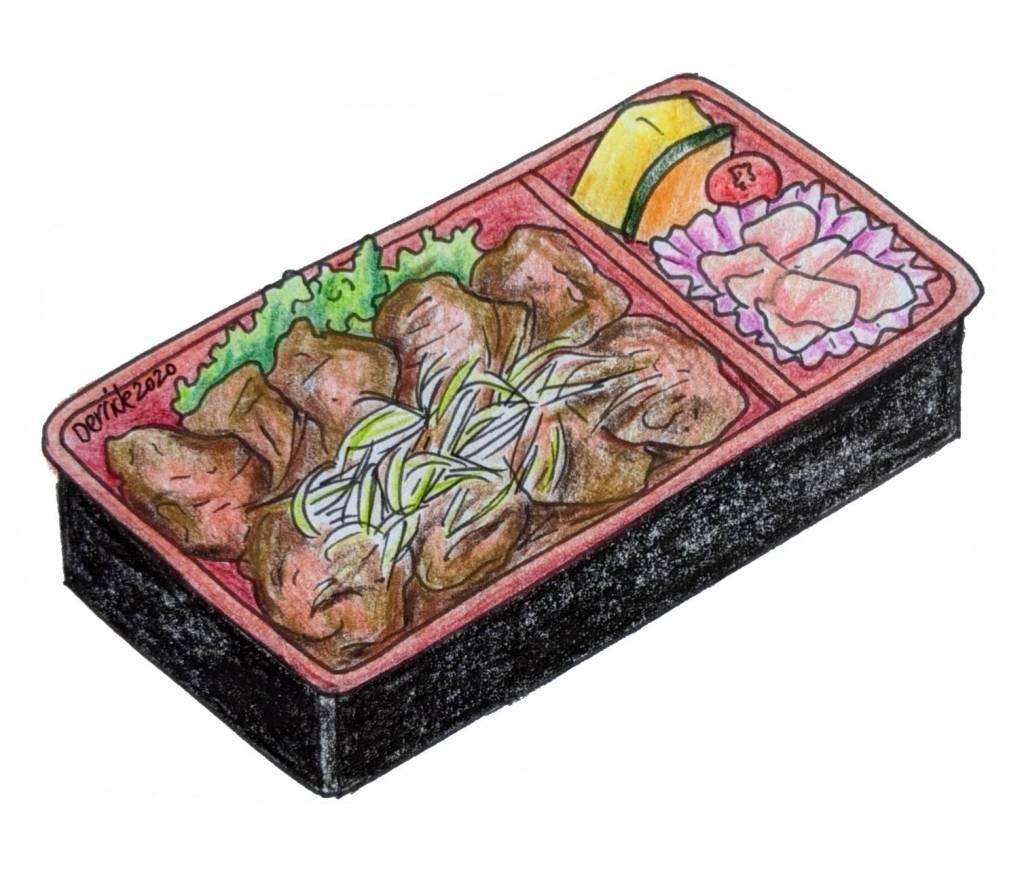 Drawing of Japanese ekiben with sliced wagyu beef