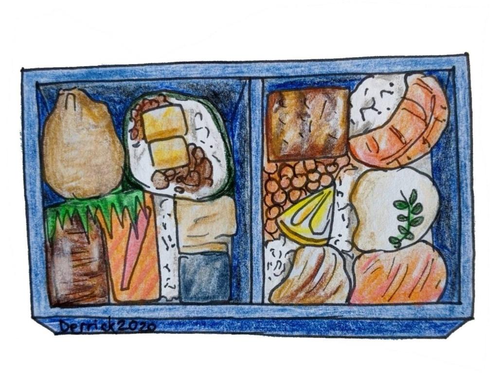 drawing of a sushi ekiben Japanese train station food