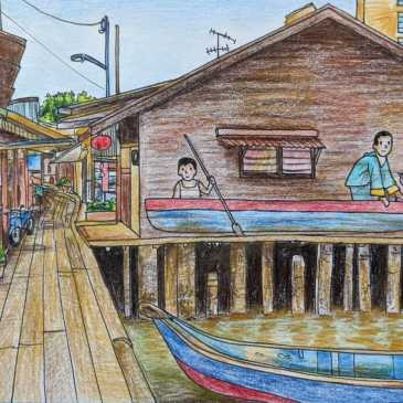 Penang street art children in a boat mural Ernest Zacharevic